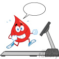royalty free rf clipart illustration healthy blood drop cartoon character running on a treadmill with speech bubble vector illustration isolated on white
