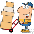 royalty free rf clipart illustration delivery man cartoon character using a dolly to move boxes vector illustration with isolated on white