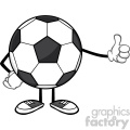 soccer ball faceless cartoon mascot character giving a thumb up vector illustration isolated on white background