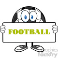 soccer ball cartoon mascot character holding a sign vector illustration with text football isolated on white background gif, png, jpg, eps, svg, pdf