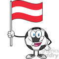 happy soccer ball cartoon mascot character holding a flag of austria vector illustration isolated on white background gif, png, jpg, eps, svg, pdf