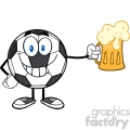 smiling soccer ball cartoon mascot character holding a beer glass vector illustration isolated on white background gif, png, jpg, eps, svg, pdf