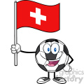 happy soccer ball cartoon mascot character holding a flag of switzerland vector illustration isolated on white background