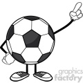 soccer ball faceless cartoon mascot character pointing vector illustration isolated on white background