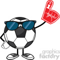 soccer ball faceless cartoon mascot character with sunglasses wearing a foam finger vector illustration isolated on white background gif, png, jpg, eps, svg, pdf