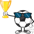 winner soccer ball faceless cartoon character with sunglasses holding a golden trophy cup vector illustration isolated on white background gif, png, jpg, eps, svg, pdf