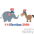 angry political elephant republican vs donkey democrat vector illustration flat design style isolated on white with text