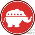 republican elephant red circle label vector illustration flat design style isolated on white  gif, png, jpg, eps, svg, pdf