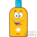 happy bottle sunscreen cartoon mascot character with sun and text spf vector illustration isolated on white background 01
