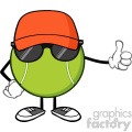 tennis ball faceless cartoon mascot character with hat and sunglasses giving a thumb up vector illustration isolated on white background