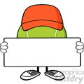tennis ball faceless cartoon mascot character with hat holding a blank sign vector illustration isolated on white background gif, png, jpg, eps, svg, pdf