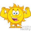 10120 happy sun cartoon mascot character showing muscle arms vector illustration isolated on white background gif, png, jpg, eps, svg, pdf