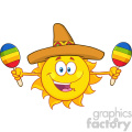 happy colorful sun cartoon mascot character with sombrero hat playing maracas vector illustration isolated on white background gif, png, jpg, eps, svg, pdf
