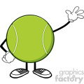 tennis ball faceless cartoon character waving vector illustration isolated on white background  gif, png, jpg, eps, svg, pdf