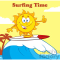 surfer sun cartoon mascot character riding a wave and showing thumb up vector illustration with background and text surfing time