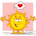 smiling sun cartoon mascot character with open arms and a heart vector illustration isolated on white background