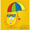 cute sun cartoon mascot character holding a umbrella vector illustration with yellow halftone background