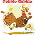 football turkey bird cartoon character running in thanksgiving super bowl vector illustration with background and text