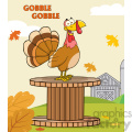 happy turkey bird cartoon character on a giant spool in a barnyard vector illustration with background and text