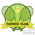 9542 crossed racket and tennis ball logo design green label vector illustration isolated on white and text tennis club gif, png, jpg, eps, svg, pdf