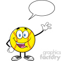 happy sofball cartoon character waving for greeting with speech bubble vector illustration isolated on white background
