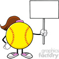 softball girl faceless cartoon mascot character holding a blank sign vector illustration isolated on white background