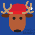 reindeer with santa hat on blue square icon vector art