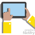 hands holding ipad surface device flat design vector art no background