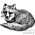 black and white vintage fox laying down vector vintage 1900 vector art GF