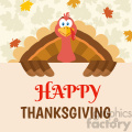 happy thanksgiving turkey bird cartoon mascot character holding a happy thanksgiving sign vector flat design over background with autumn leaves gif, png, jpg, eps, svg, pdf