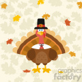Thanksgiving Turkey Bird Wearing A Pilgrim Hat Vector Flat Design Over Background With Autumn Leaves