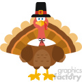 Thanksgiving Turkey Bird Wearing A Pilgrim Hat Vector Flat Design