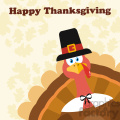 Pilgrim Turkey Bird Cartoon Mascot Character Peeking From A Corner Vector Flat Design Over Background With Autumn Leaves And Text Happy Thanksgiving