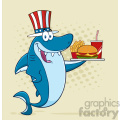 american blue shark cartoon with patriotic hat holding a platter with burger french fries and a soda vector with halftone background gif, png, jpg, eps, svg, pdf