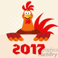 Happy Red Rooster Bird Cartoon Holding A Sign Vector Flat Design Over Halftone Background With 2017 Numbers