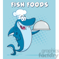 chef blue shark cartoon holding a platter vector with blue halftone background and text fish foods  gif, png, jpg, eps, svg, pdf