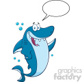royalty free rf clipart happy blue shark cartoon  waving for greeting with speech bubble vector   gif, png, jpg, eps, svg, pdf