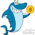 clipart greedy blue shark cartoon holding a goden dollar coin vector  gif, png, jpg, eps, svg, pdf