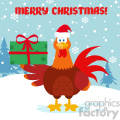 cute red rooster bird cartoon holding gifts vector flat design with snow background and text merry christmas gif, png, jpg, eps, svg, pdf