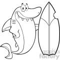 black and white smiling shark cartoon with surfboard vector vector  gif, png, jpg, eps, svg, pdf