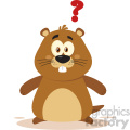 Cute Marmot Cartoon Character With Question Mark Vector Flat Design