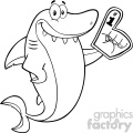 clipart black and white cute shark cartoon wearing a foam finger vector  gif, png, jpg, eps, svg, pdf