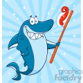 clipart smiling blue shark cartoon holding a toothbrush with paste vector with blue sunburs background gif, png, jpg, eps, svg, pdf