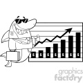 Black And White Smiling Business Shark Cartoon Holding A Thumb Up To A Presentation Board With A Growth Chart Vector Illustration