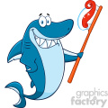 clipart smiling blue shark cartoon holding a toothbrush with paste vector  gif, png, jpg, eps, svg, pdf