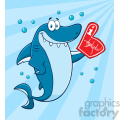 Clipart Cute Blue Shark Cartoon Wearing A Foam Finger Vector With Blue Sunburs Background