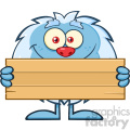 Cute Little Yeti Cartoon Mascot Character Holding Wooden Blank Sign Vector