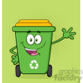 Happy Green Recycle Bin Cartoon Mascot Character Waving For Greeting Vector With Green Halftone Background