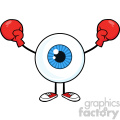Blue Eyeball Guy Cartoon Mascot Character Wearing Boxing Gloves Vector