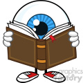 Blue Eyeball Guy Cartoon Mascot Character Reading A Book Vector